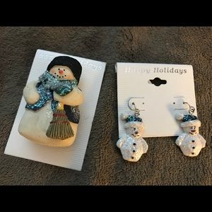 Snowman earrings and pendant
